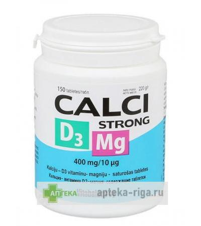 Calci Strong + D3 + Mg, 150 tabletes